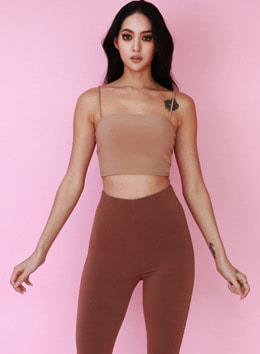 JOICE TUBE CROPPED TANKTOP - DOUBLE LAYERED - DARK TAN 조이스 튜브 크롭 탱크탑 - 다크탠