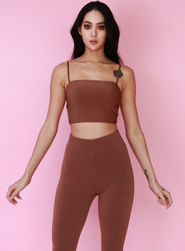 JOICE TUBE CROPPED TANKTOP - DOUBLE LAYERED - RUST 조이스 튜브 크롭 탱크탑 - 러스트