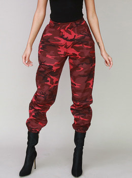 BBLD CAMO JOGGER TROUSERS - RED BBLD 카모 조거 트라우져 - 레드