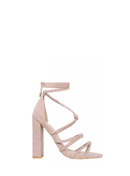 BONNIE LACE UP BLOCK HEELS - NUDE 보니 레이스업 블록 힐 - 누드