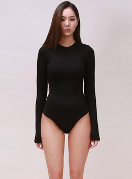 JENNER LONG SLEEVE BODYSUIT - BLACK 제너 바디수트 - 블랙