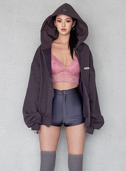 BELLA  BOXYFIT FLEECE FULL ZIP-UP HOODIE - 2colors 벨라 박시핏 기모 집업 후드 - 2컬러