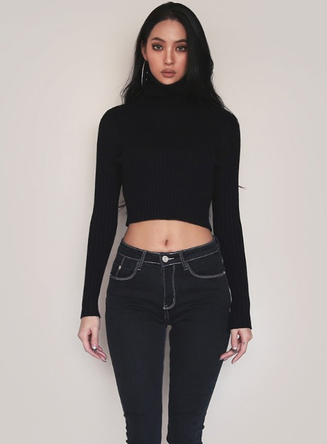 TURTLE NECK CROPPED SWEATER - BLACK 터틀넥 크롭 스웨터 - 블랙