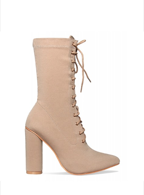 FILLMORE LACE-UP ANKLE BOOTS LYCRA - NUDE 필모어 레이스업 앵클 부츠 라이크라 - 누드