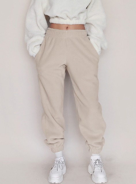 ESSENTIAL FLEECE  JOGGER TROUSERS - SAND 에센셜 플리스 조거 트라우져 - 샌드