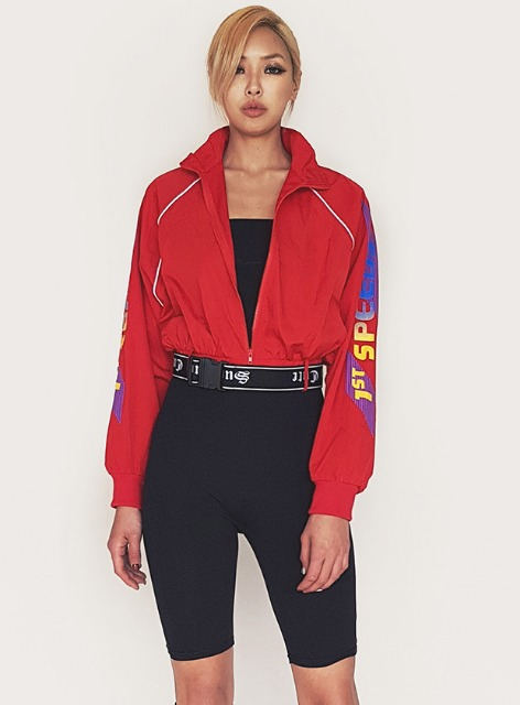 SPEED CROPPED ZIP-UP JACKET - RED 스피드 크롭 집업 자켓 - 레드