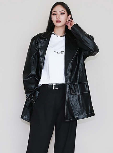 ADC LEATHER BLAZER - BLACK ADC 레더 블레이져 - 블랙