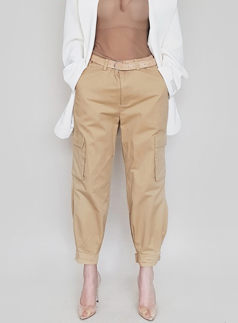 ANKLE VELCRO CARGO PANTS - BEIGE 앵클 벨크로 카고 팬츠 - 베이지