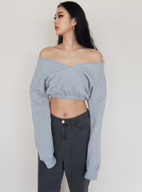 OFF SHOULDER 2WAY CROPPED SWEATSHIRTS - GRAY 오프숄더 2way 크롭 맨투맨 - 그레이